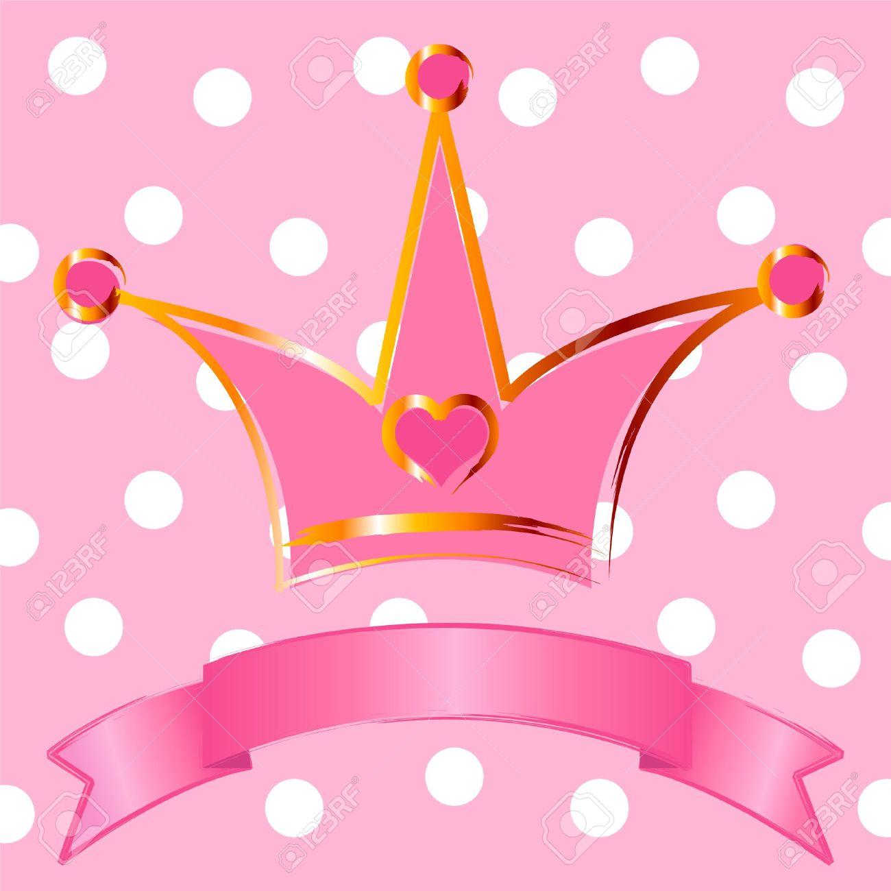 Sfondo Rosa Con Corona Per La Principessa Vera Clipart Royalty.