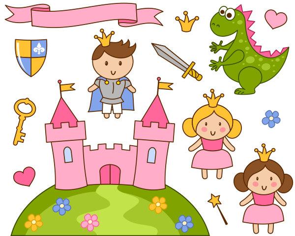 Cute Little principessa e Principe clipart rosa Castello.