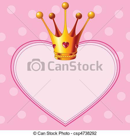 Illustrazioni vettoriali di rosa, corona, principessa, fondo.