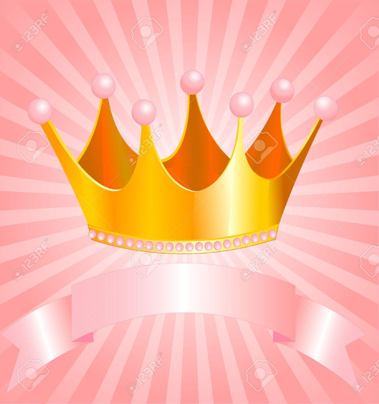 Bellissimo Sfondo Con Corona Per Vera Principessa Clipart Royalty.