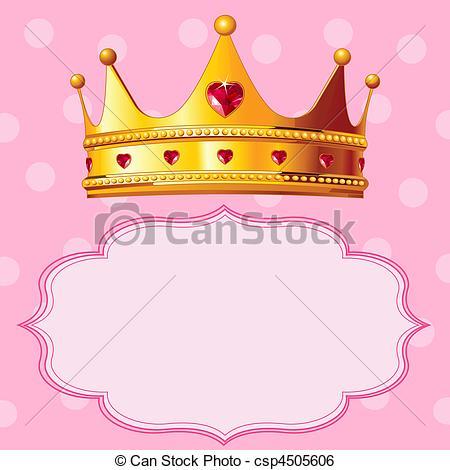 Clipart vettoriali di rosa, corona, principessa, fondo.