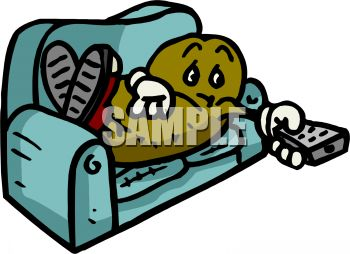 Cartoon of a Couch Potato with a Television Remote Control.