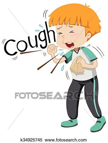 Sick boy coughing hard Clipart.