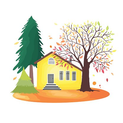 Autumn countryside. Illustration with rustic house, seasonal.