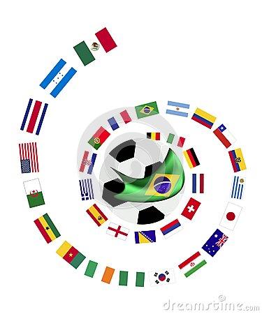 Les 32 équipes Dans La Coupe Du Monde 2014 Du Brésil Image.
