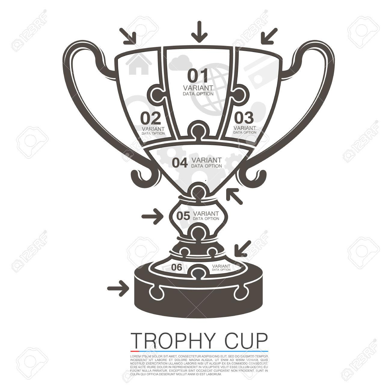 Vainqueur De La Coupe Avec Des Icônes Puzzle. Vector Illustration.