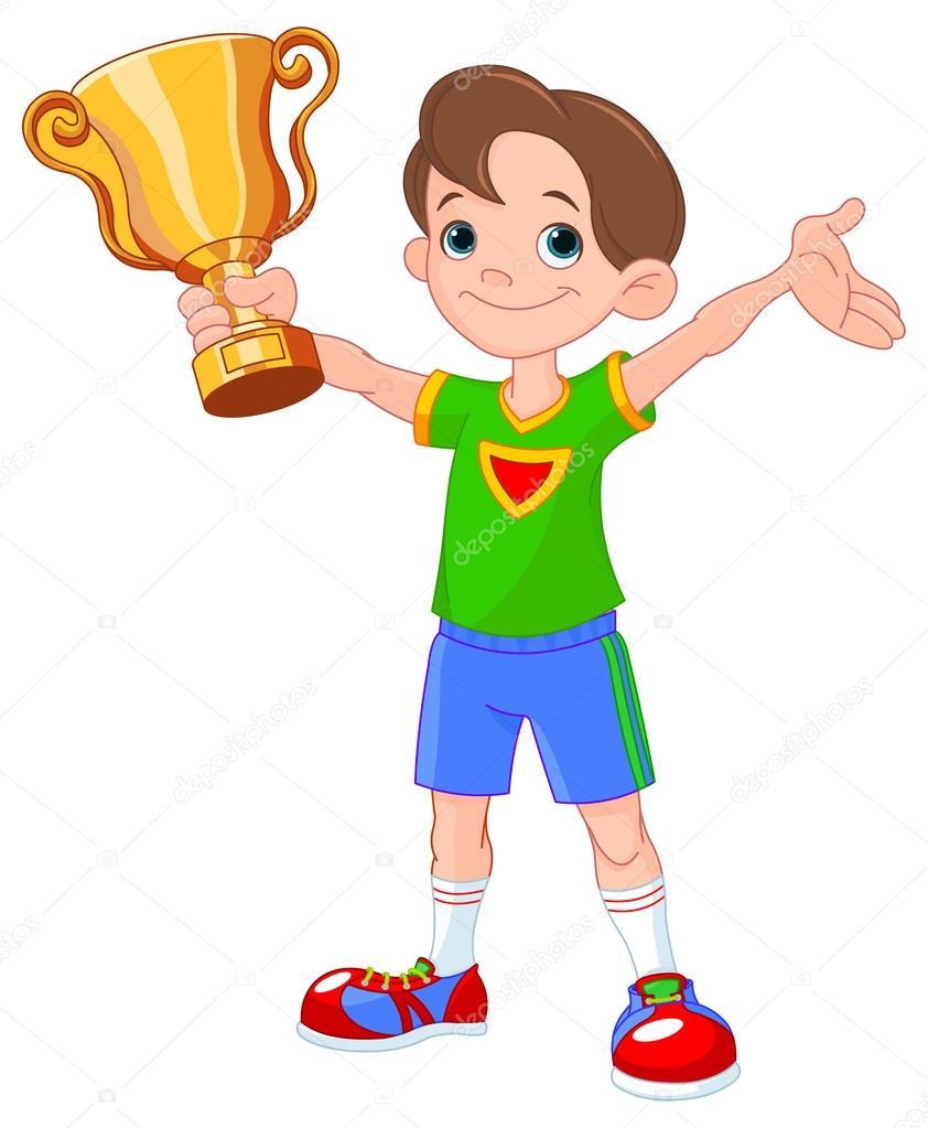 Garçon sportif avec la Coupe du vainqueur — Image vectorielle.