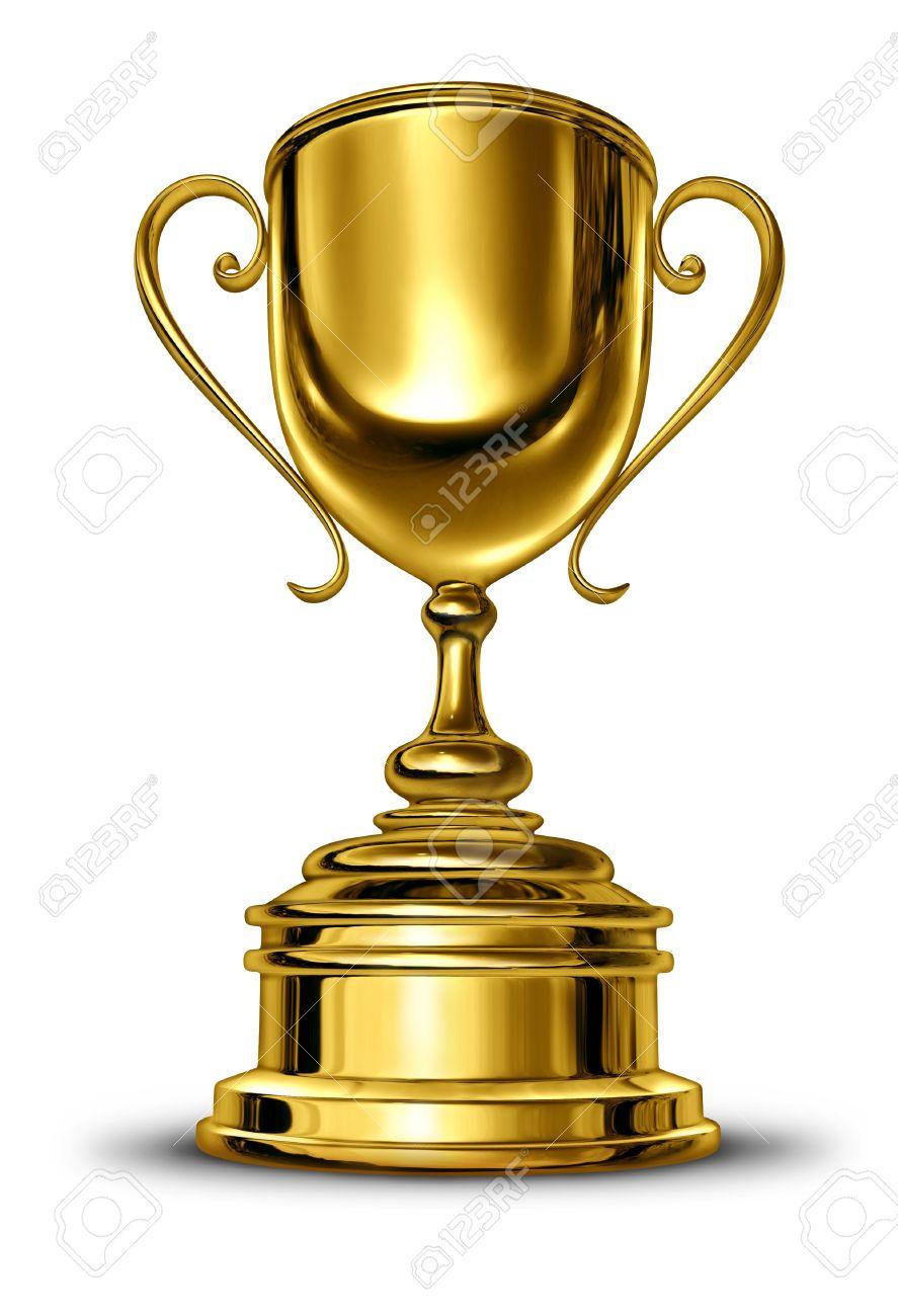 Vainqueur De La Coupe D'or Trophée Avec Une Base En Métal Blanc.