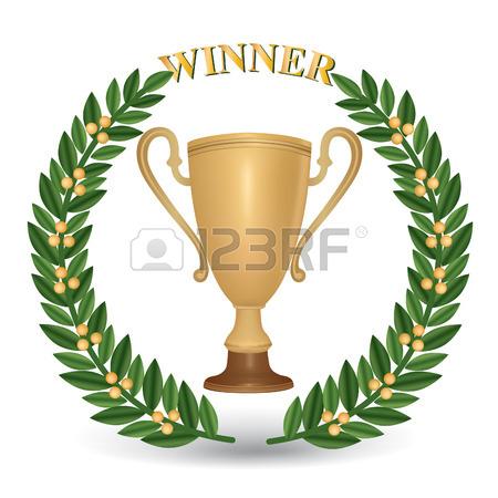 Vainqueur De La Coupe Avec Une Couronne De Laurier. Clip Art.