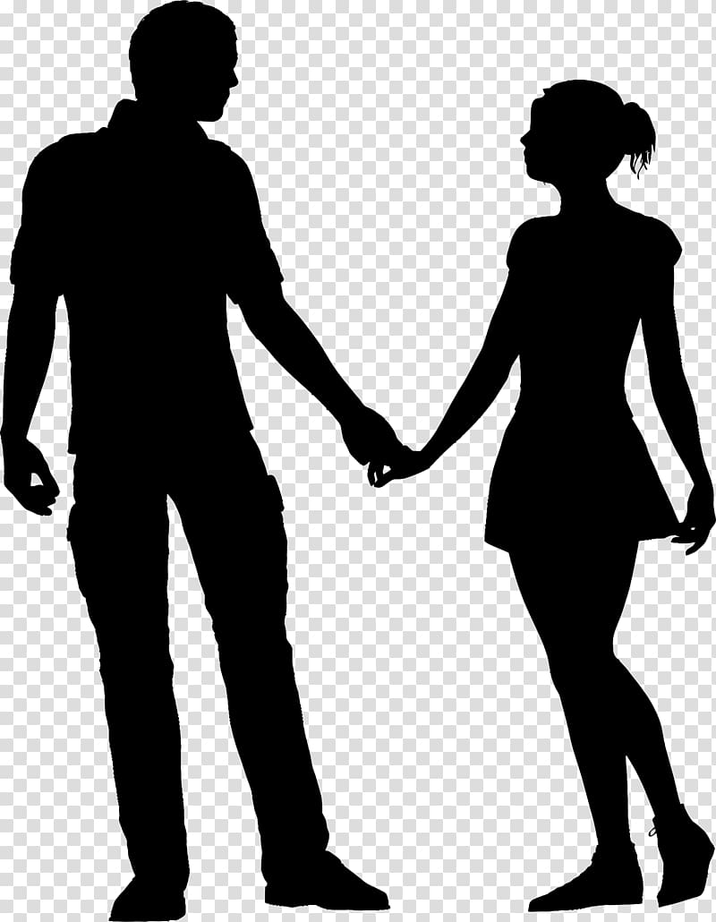Couple holding hands art, Silhouette couple, break up.