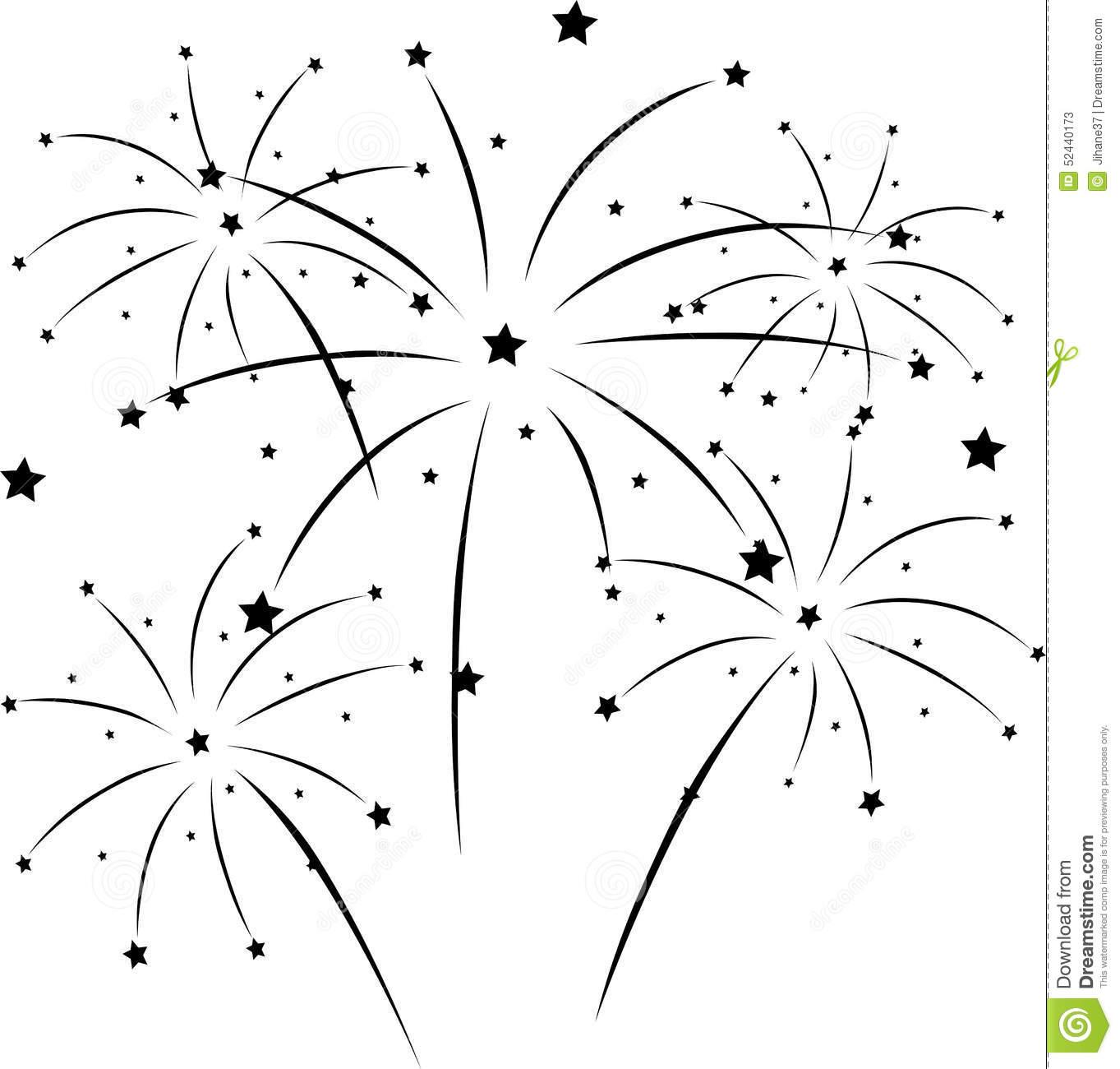 Silhouette Of Fireworks Stock Illustration.