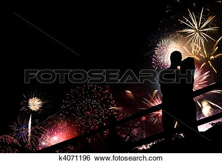 Stock Images of Fireworks Couple Silhouette k4071196.