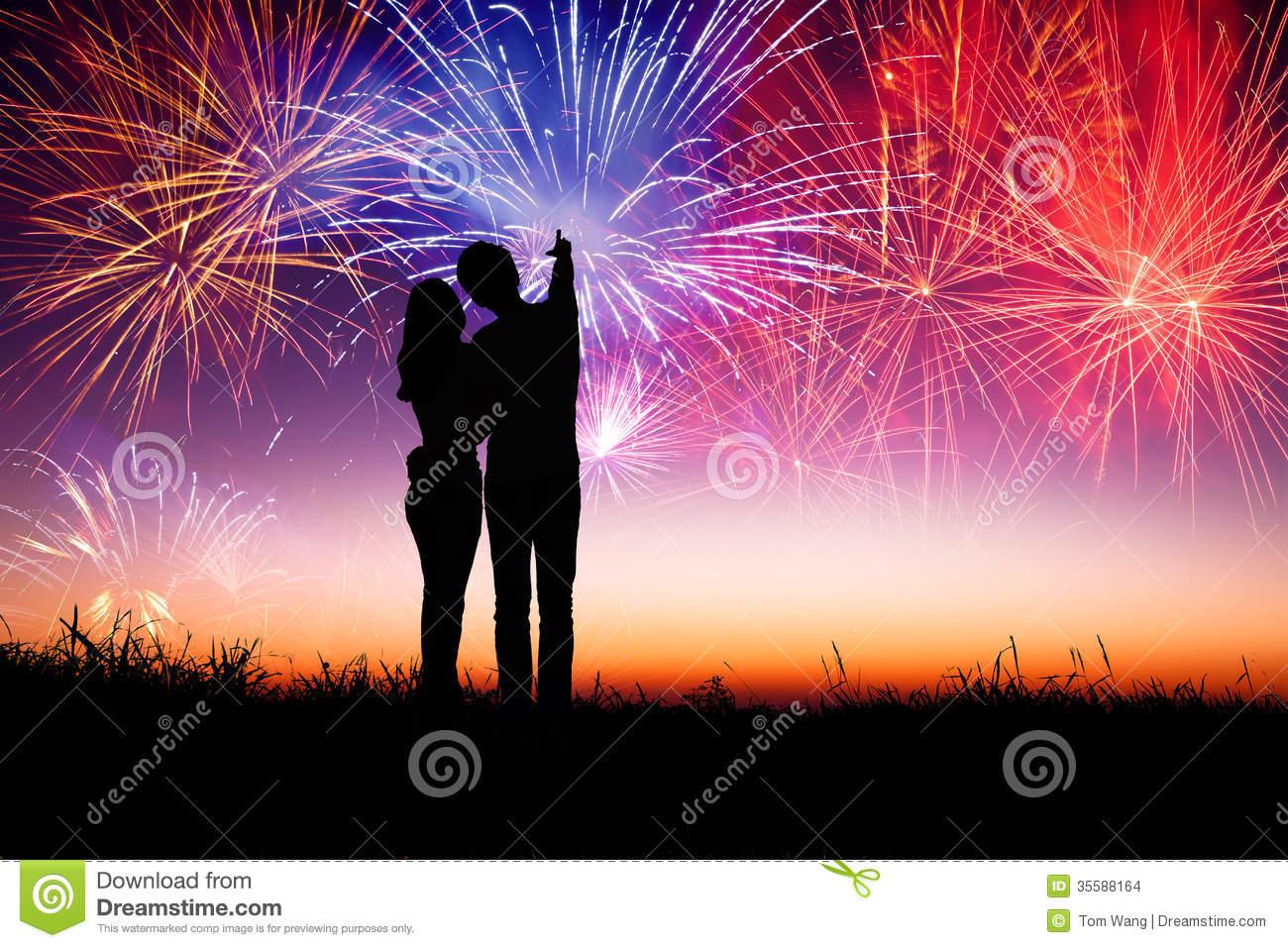 Fireworks Couple Stock Image.