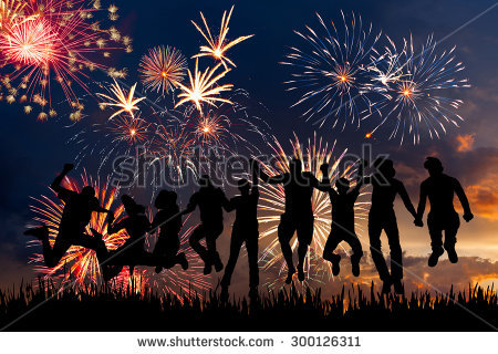 Fireworks People Silhouette Stock Images, Royalty.