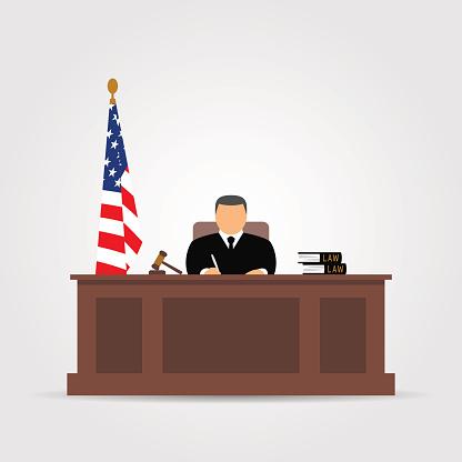 Courtroom Clip Art, Vector Image Illustrations.
