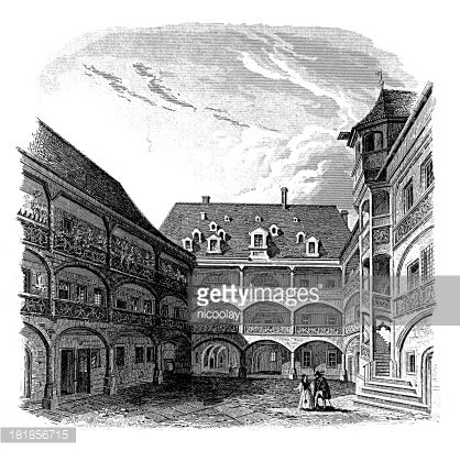 Courtyard of patrician house in Nuremberg, Germany\' Clipart.