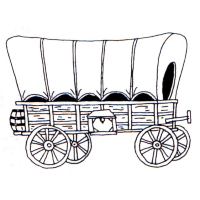 Free black and white covered wagon clipart.