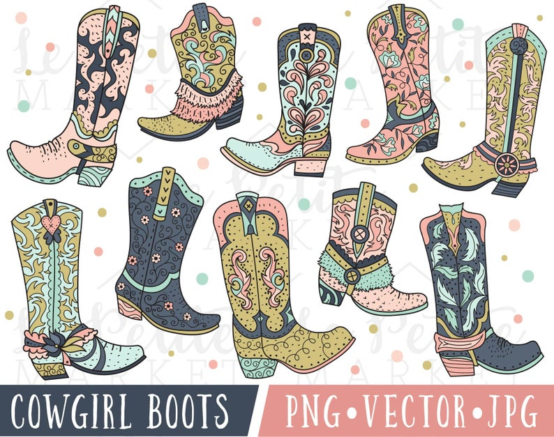 Pink Cowgirl Boot Clipart, Cowboy Boot Clipart, Cowboy Boot Clip Art, Cute  Pink Cowboy Boots Clipart, Cowboy Boot Illustrations Graphics.