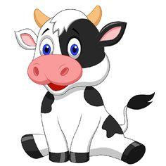 Cute cow cartoon vector on VectorStock®.