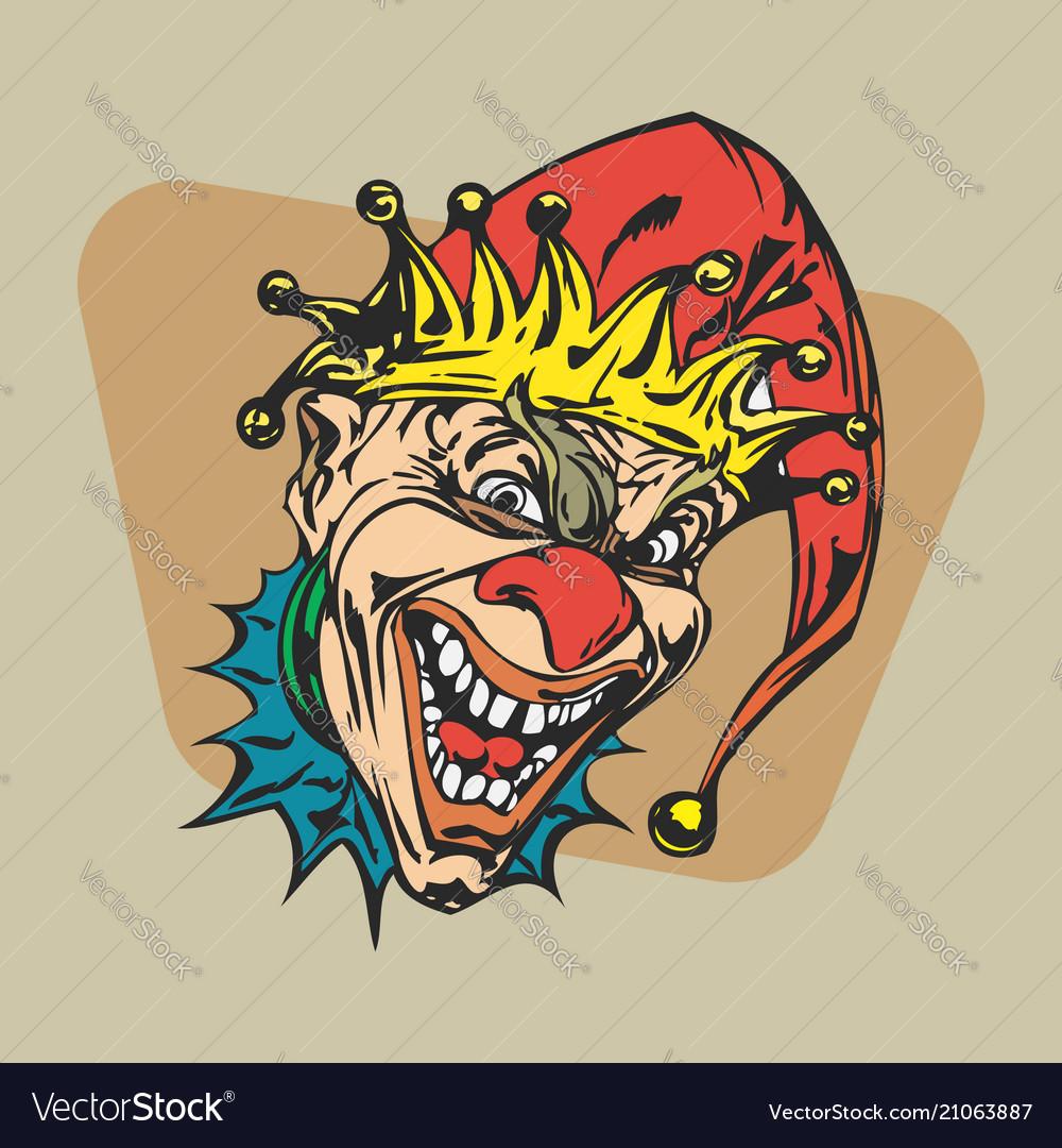Crazy clown clipart.