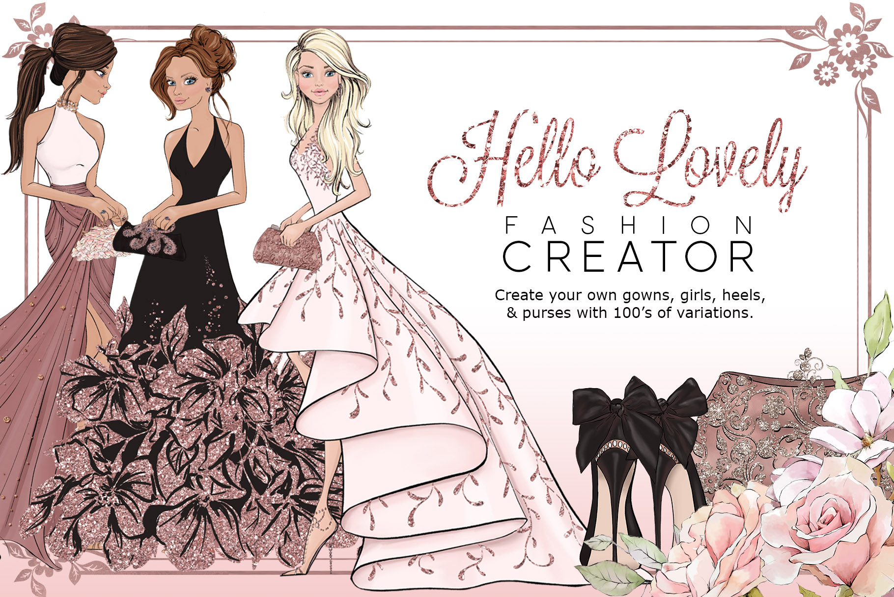 Hello Lovely Fashion Creator Dress Clipart.