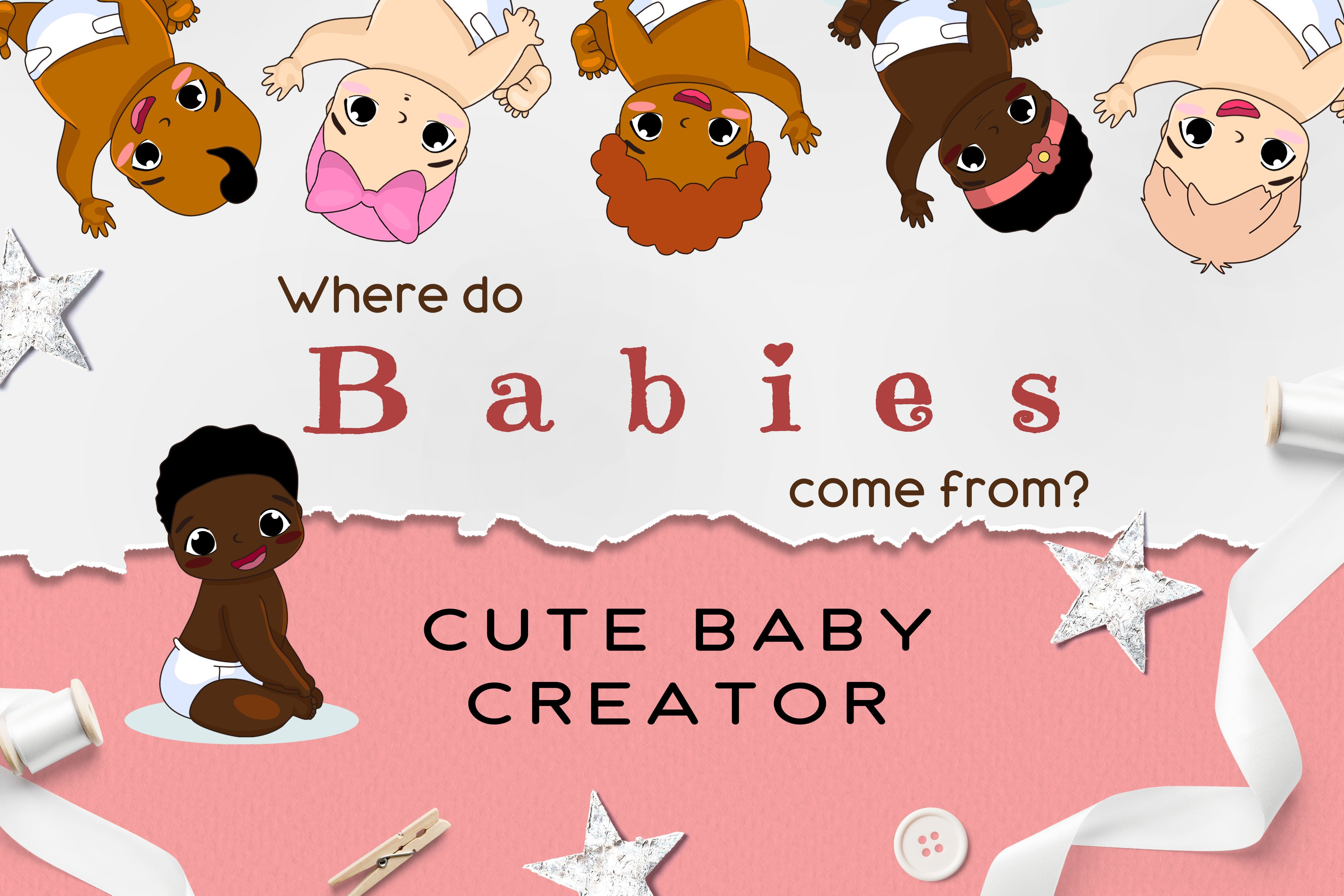Cute Baby Creator/vector clipart ~ Graphic Objects ~ Creative Market.