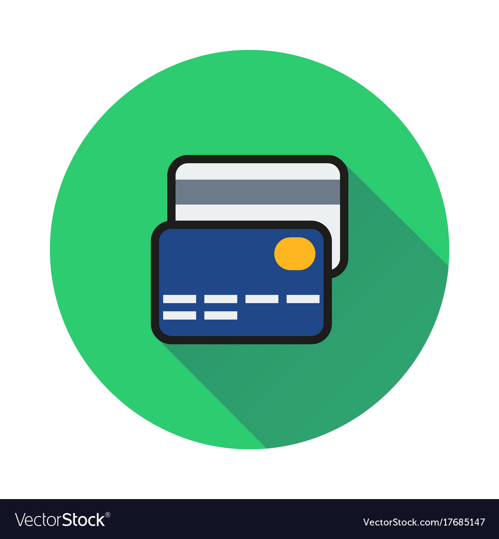 Credit card icon on round background.