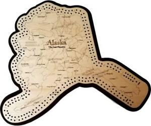 Details about Alaska Shaped Road Map Cribbage Board.
