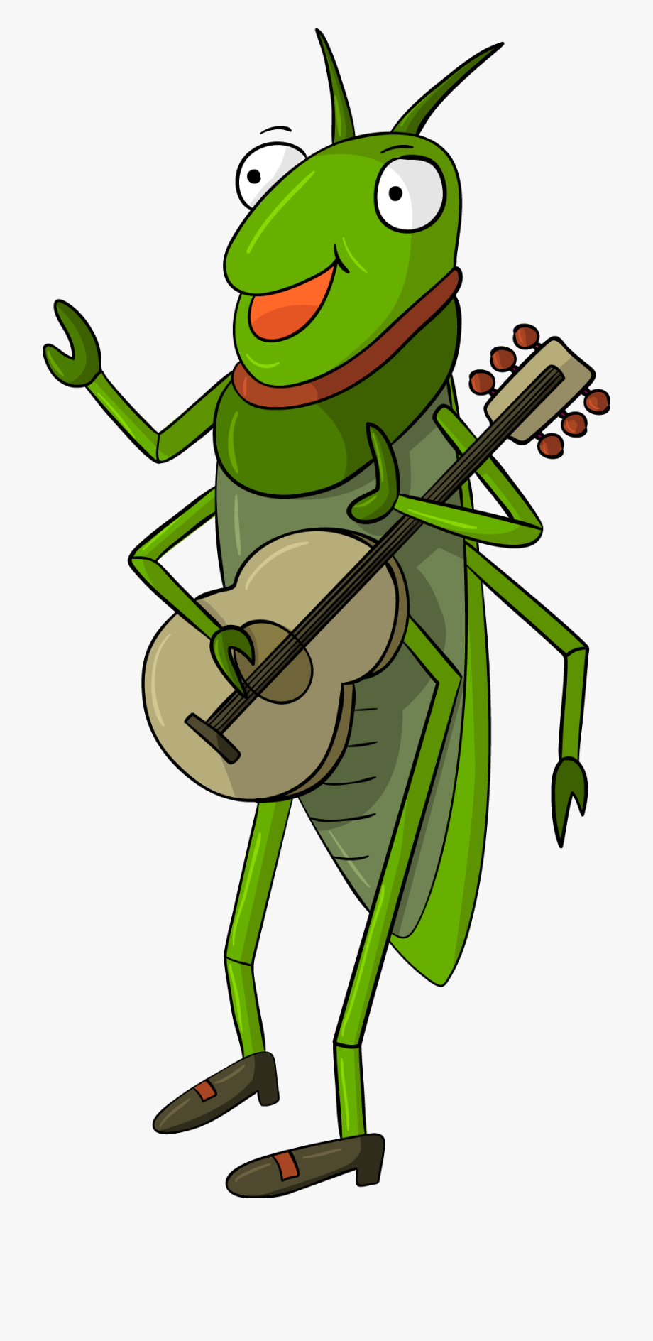Cricket Grasshopper Illustration Playing Guitar Insect.