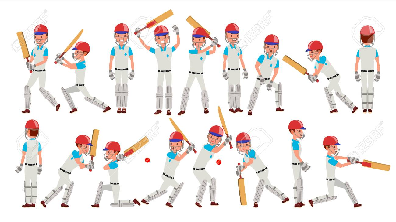 Cricket Player Vector. In Action. Cricket Team Character. Poses.