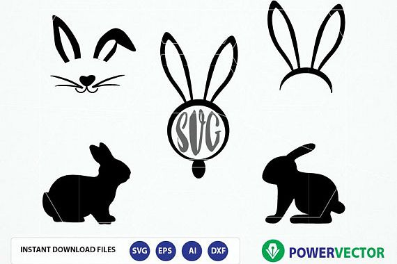 Bunny svg files. Easter bunny clipart. Bunny monogram. Easter silhouette  Studio, Cricut files. Rabbit vector files svg, png, dxf, eps, ai.