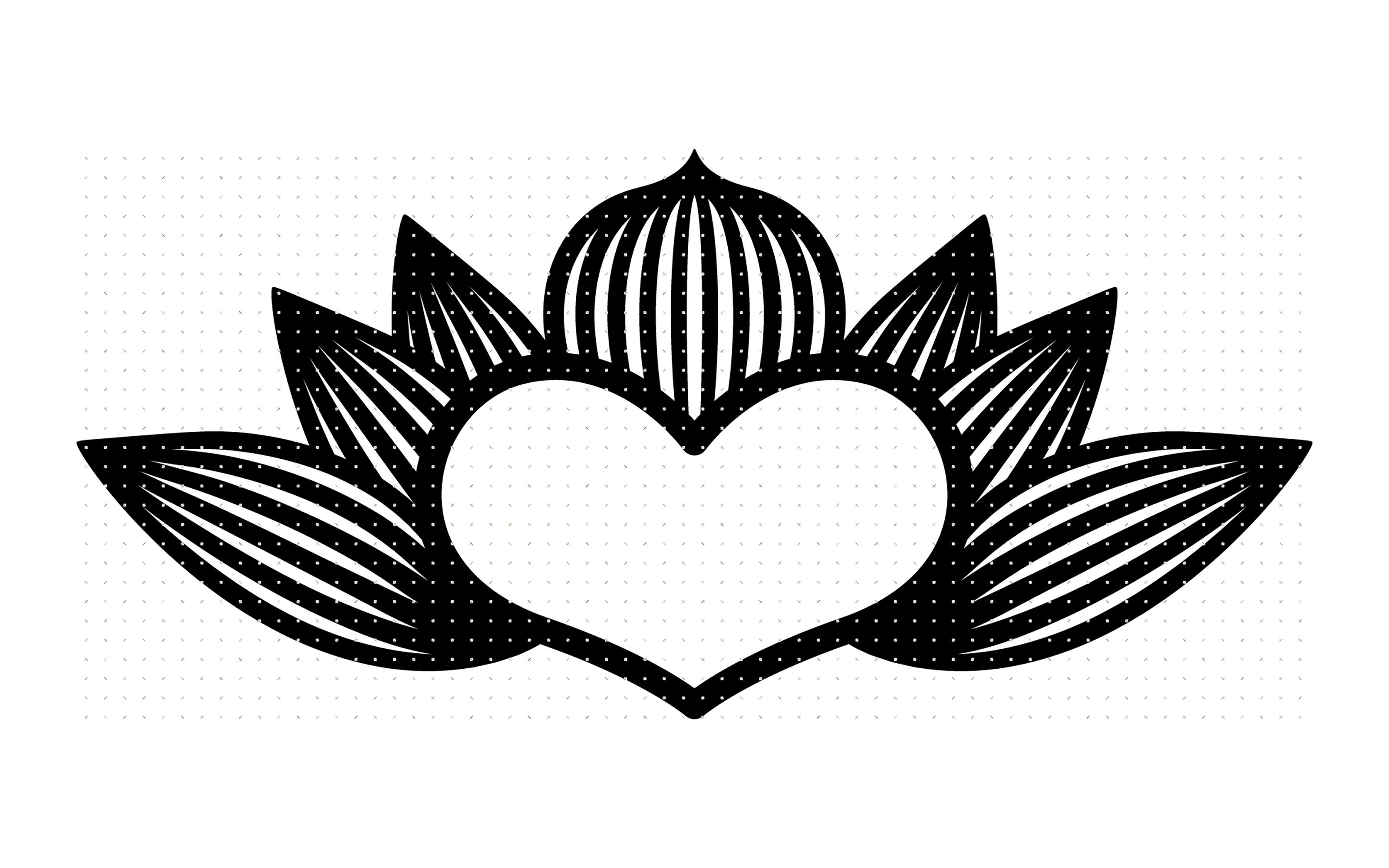lotus heart flower svg, dxf, vector, eps, clipart, cricut.