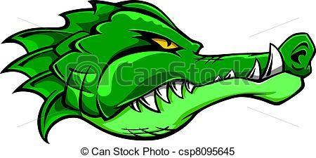 Clipart Vector of Crocodile mascot.