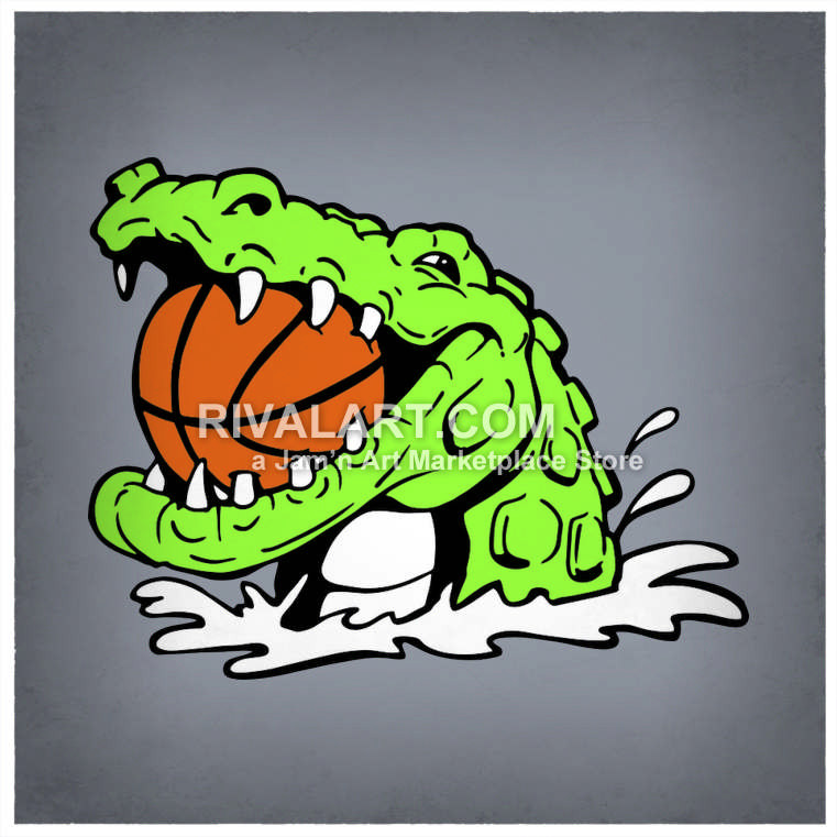 Gator Holding A Basketball In Its Mouth.