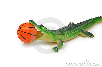 Crocodile Basketball Mascot Break The Wall Stock Vector.