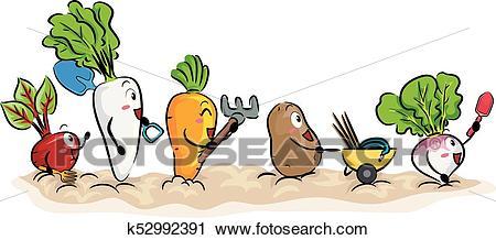 Mascot Root Crops Garden Tools Illustration Clipart.