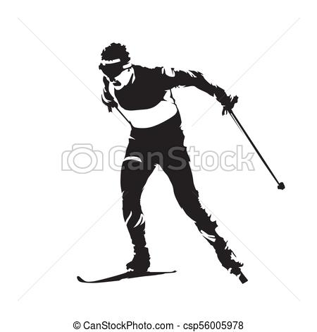 Cross country skiing, individual winter sport. Skier abstract vector  silhouette.