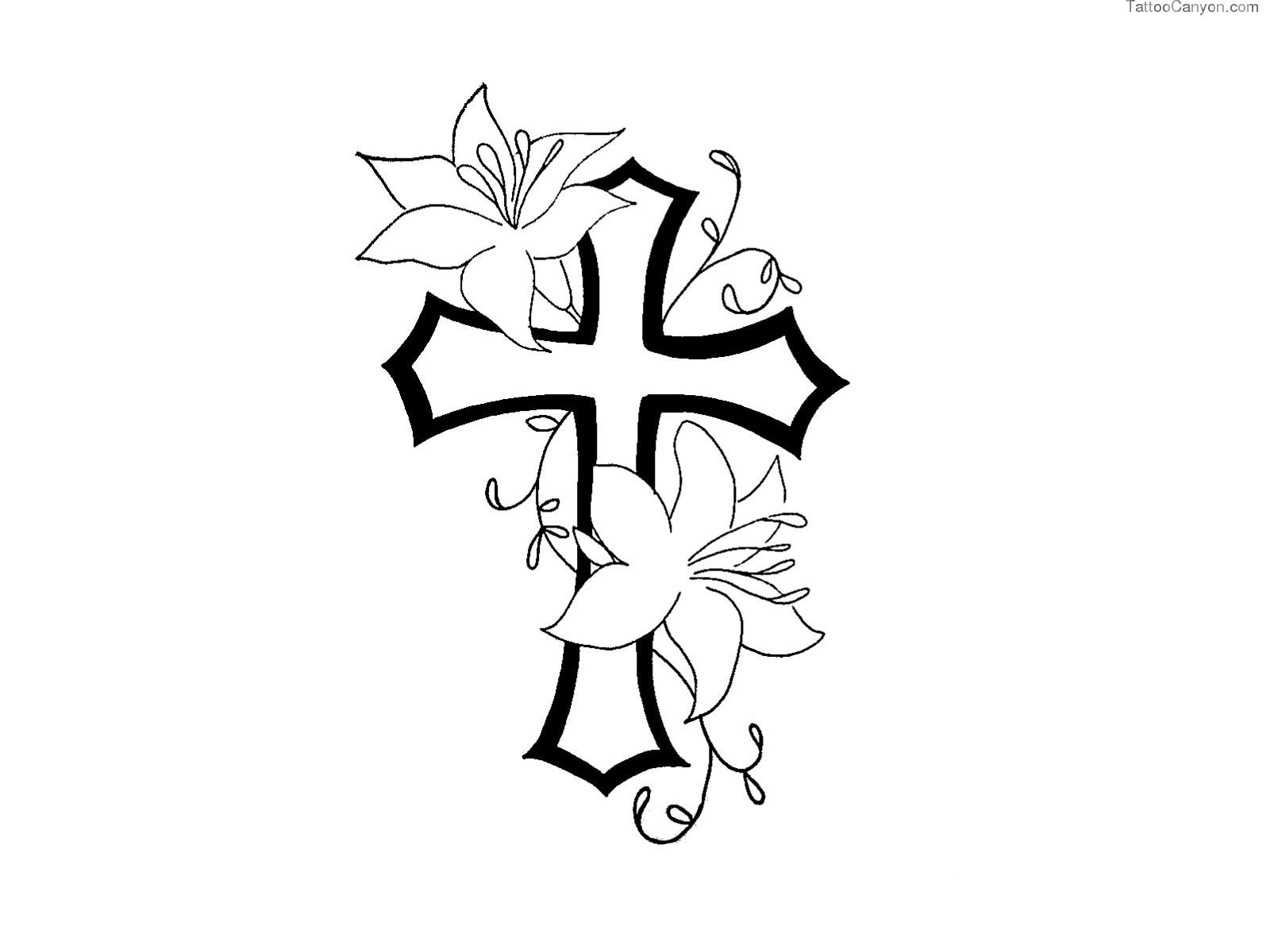 Free Designs Cross With Flower Contour Tattoo Wallpaper Picture.
