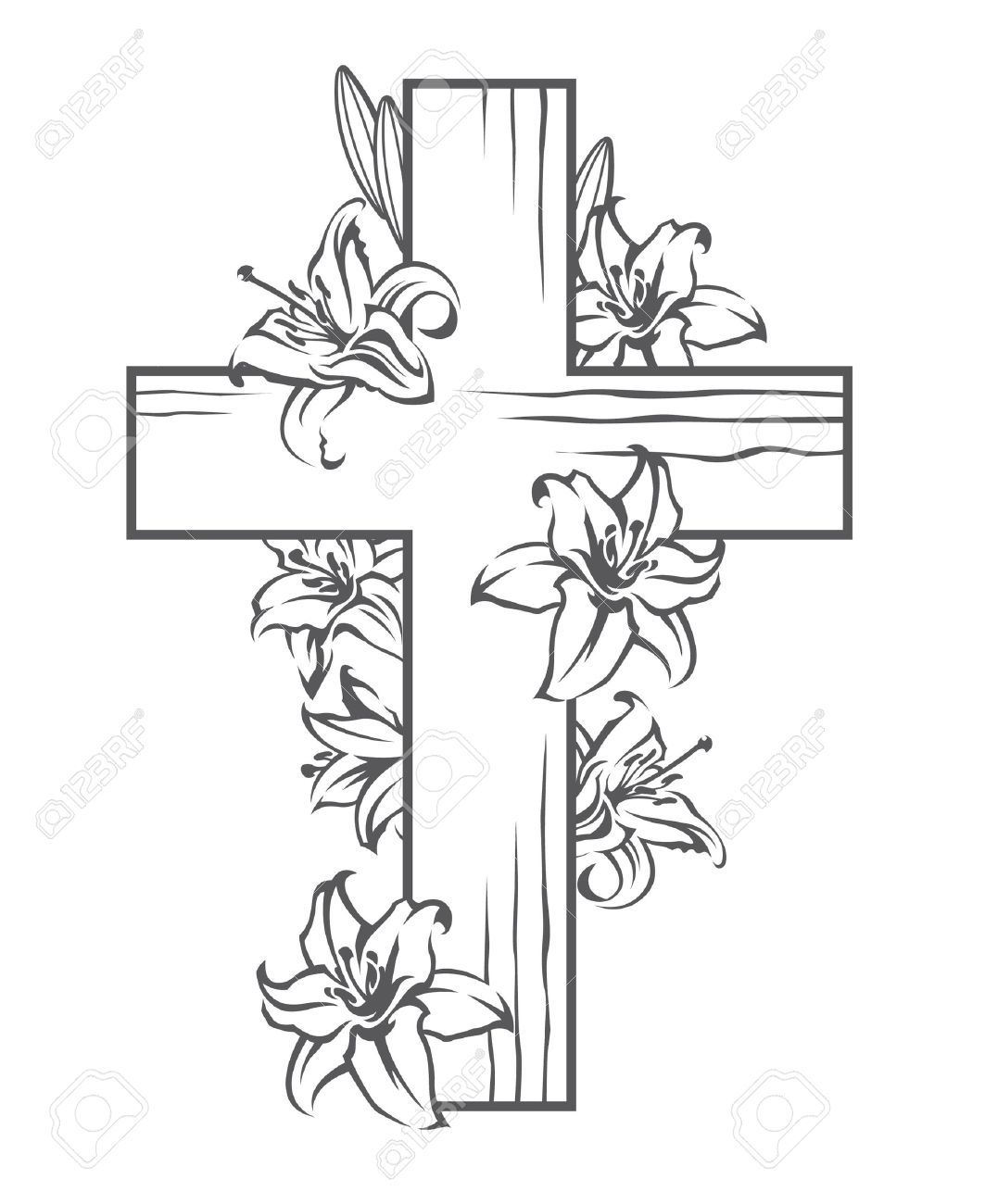 Cross and flowers clipart black and white 4 » Clipart Portal.
