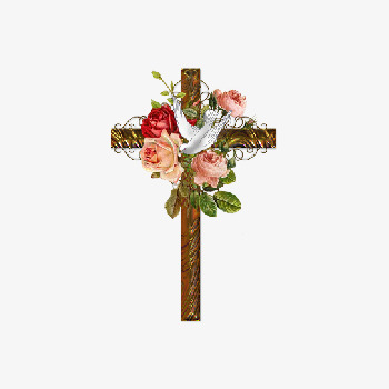 Flowers Wrapped Cross, Cross Clipart, Rose, Cross PNG Transparent.