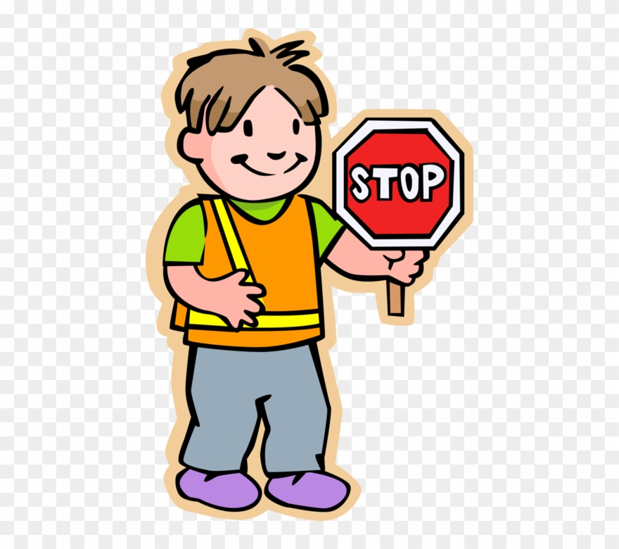 School Crossing Guard With Stop Sign.