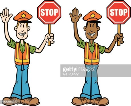 Cartoon Crossing Guard Clipart Image.