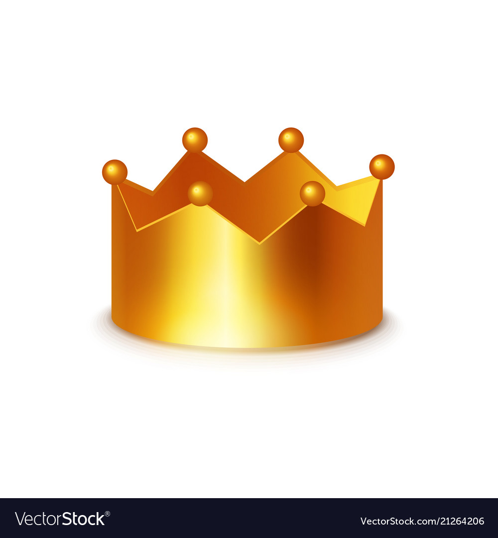 Golden crown clipart on white.