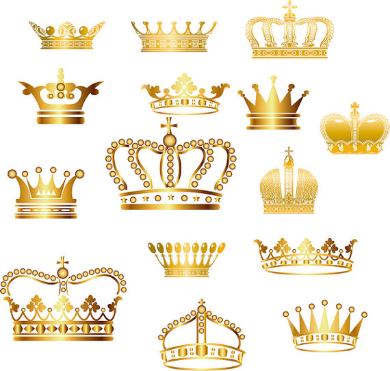Gold Crown Clip Art Crown Clipart Digital Crown por BlueGraphic.