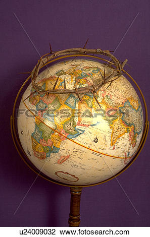 Stock Photo of Crown of thorns on top of world globe u24009032.