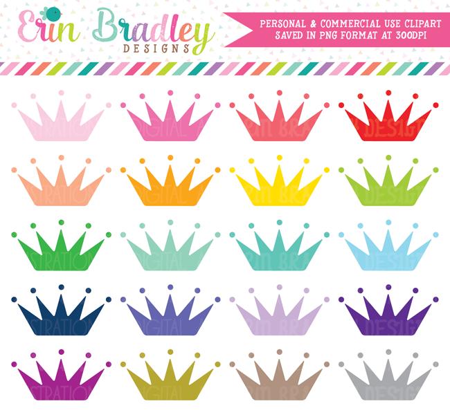 Princess Crowns Clipart Set.