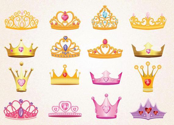 16 x Princess Crowns Clipart/Pink Crowns/Gold Crowns/Princess Crowns  SVG.PNG 300 ppi,eps/Princess Printables/Digital.
