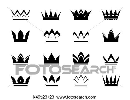 Set of black vector crowns and icons Clipart.