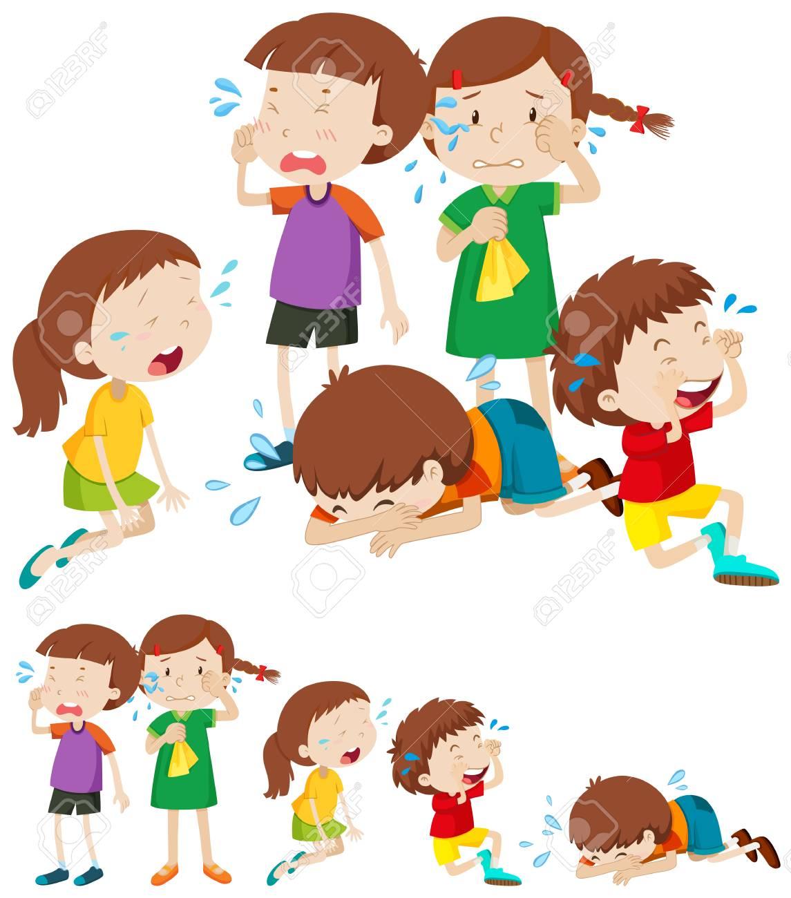 Many sad children crying illustration.