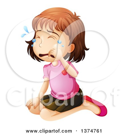 Clipart of a Brunette White Girl Kneeling and Crying.